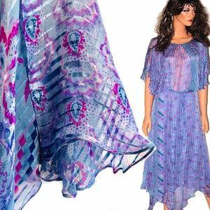 VTG. BOHO PERIWINKLE SILK PAISLEY SCARF DRESS S/M